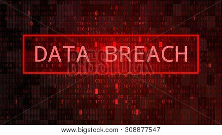 Dark Red Bg With Binary Code. Data Breach