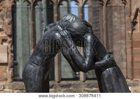Coventry, Warwickshire, Uk, June 27th 2019, Reconciliation Memorial Sculpture At The Cathedral Churc