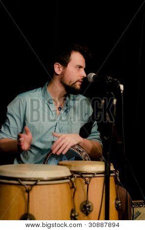 VANCOUVER, CANADA - FEBRUARY 9: jazz band Tambura Rasa. Robin Layne (percussion) on the stage of The Jazz Cellar on February 9, 2011 in Vancouver, Canada.