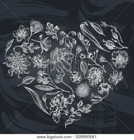 Heart Floral Design With Chalk Japanese Chrysanthemum, Blackberry Lily, Eucalyptus Flower, Anemone,
