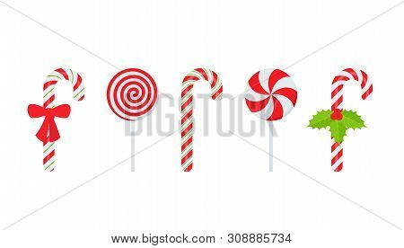 Candy Cane. Vector. Christmas Stick And Round Swirl Candies Icon. Peppermint Lollipop Symbol Isolate