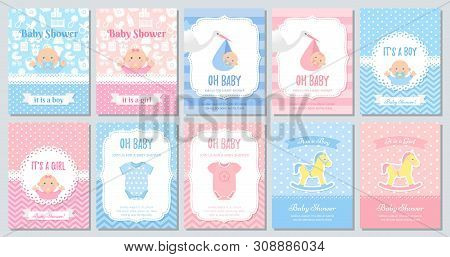 Baby Shower Invite Card. Vector. Baby Boy Girl Template Invitation. Welcome Banner. Cute Blue, Pink