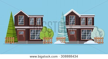 Set Of Isolated Country Rural Two Storey Farm Winter And Summer Houses With Fences, Snowdrift And Tr