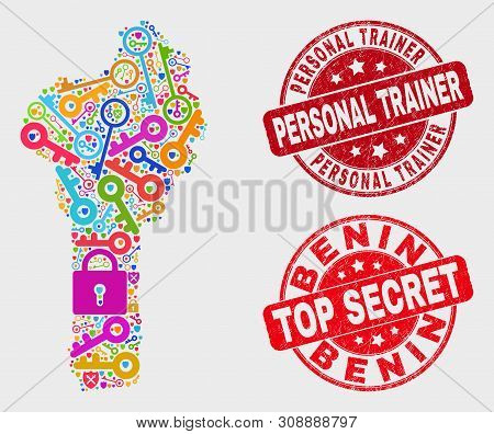 Safeguard Benin Map And Stamps. Red Rounded Top Secret And Personal Trainer Scratched Stamps. Bright