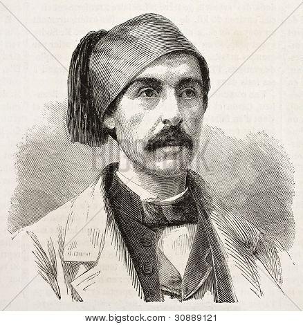 Nubar-Bey old engraved portrait, Egypt viceroy adviser. Created by Chenu, published on L'Illustration, Journal Universel, Paris, 1863