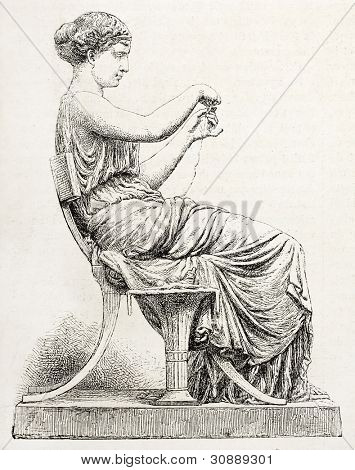 Woman unraveling a skein, old illustration after statue sculpted by Salmson, published on L'Illustration, Journal Universel, Paris, 1863