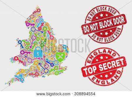 Passkey England Map And Watermarks. Red Round Top Secret And Do Not Block Door Scratched Watermarks.