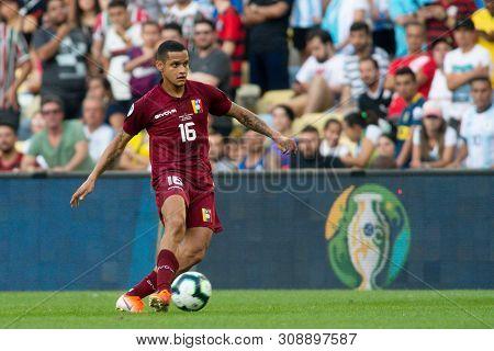 Rio De Janeiro, Brazil - June 28, 2019: R. Rosales Altuve Of Venezuela Kicks The Ball During The 201
