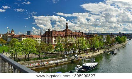 Basel, Switzerland - April 17, 2019. Panorama Of The Rhine Embankment. City View From The Dreirosenb