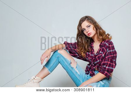 Girl Trendy Look. Copy Space. Beauty And Fashion. Retro Fashion Model. Teen Girl In Checkered Shirt
