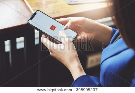 Chiang Mai,thailand - Feb 16, 2019: A Woman Showing Screen Shot Of Youtube On Iphone X,  Youtube App
