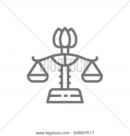 Female Libra, Gender Equality, Lady Justice Line Icon.