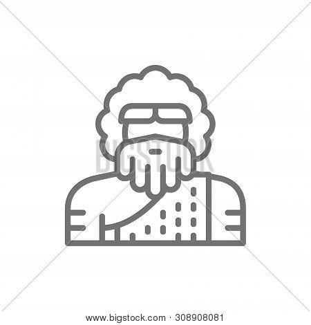 Primitive Man, Homo Sapiens, Neanderthal, Pithecanthropus Line Icon.