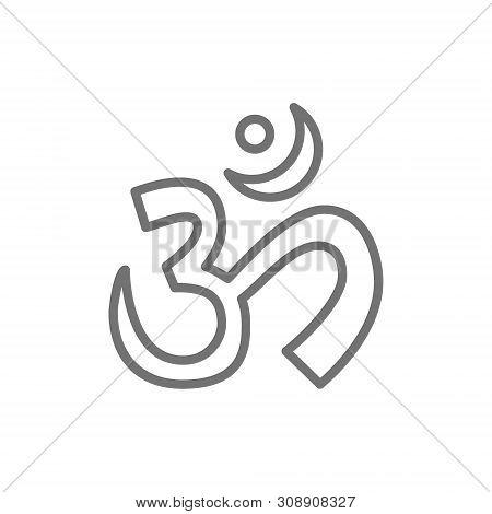 Om Or Aum Indian Sacred Sound Symbol, Mantra Line Icon.