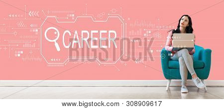 Searching Career Theme With Young Woman Using A Laptop Computer