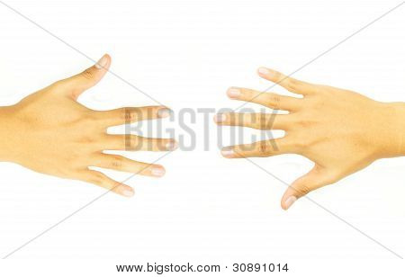 two open hand of the opposite side