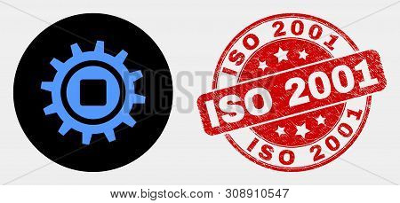 Rounded Gear Icon And Iso 2001 Seal Stamp. Red Rounded Distress Seal Stamp With Iso 2001 Caption. Bl
