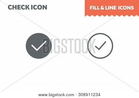 Chek Mark Fill And Line. Flat Design. Ui Icon