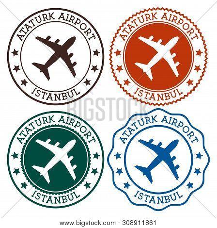 Ataturk Airport Istanbul. Istanbul Airport Logo. Flat Stamps In Material Color Palette. Vector Illus