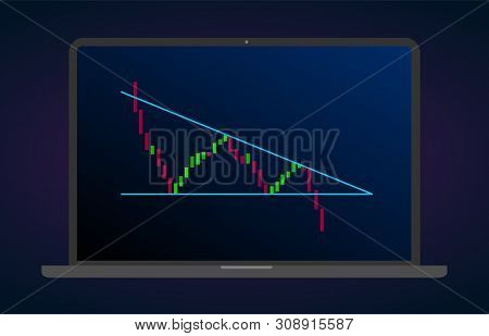 Descending triangle pattern figure technical analysis. Vector stock and cryptocurrency exchange graph, forex analytics and trading market chart. Descending bearish triangle breakouts flat vector icon poster
