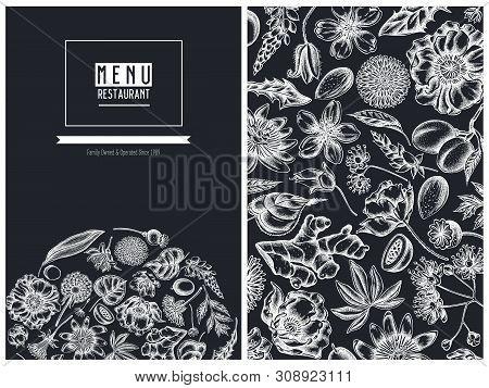 Menu Cover Floral Design With Chalk Almond, Dandelion, Ginger, Poppy Flower, Passion Flower, Tilia C