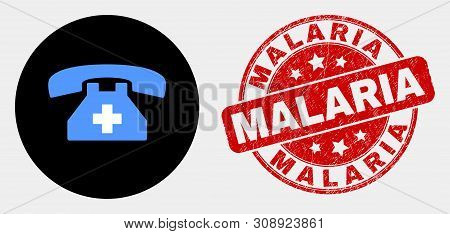 Rounded First Aid Phone Icon And Malaria Seal Stamp. Red Round Grunge Seal Stamp With Malaria Captio