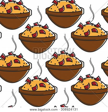 Moroccan Hot Rice With Bell Paper In Bowl Seamless Pattern