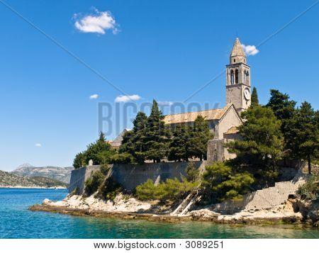 Catholic monastery on island Lopud near Dubrovnik Croatia. poster