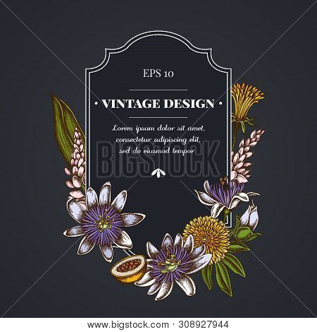 Dark Badge Design With Dandelion, Ginger, Passion Flower Stock Illustration