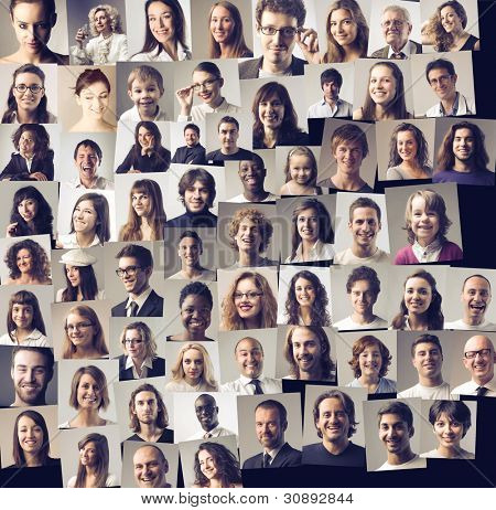 Composition of different people smiling