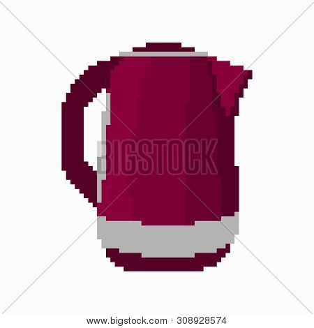 Electric Kettle In Red Fete Isolated Pixel Object Qualitative Vector Illustration For Your Design