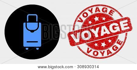 Rounded Voyage Luggage Icon And Voyage Seal. Red Rounded Scratched Seal With Voyage Caption. Blue Vo