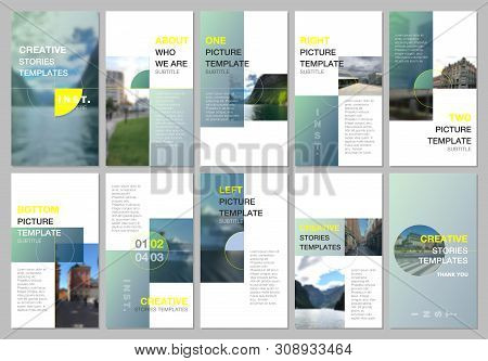 Creative Social Networks Stories Design, Vertical Banner Or Flyer Templates With Green Colorful Grad