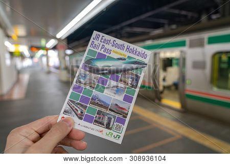 Sendai, Japan - May 10 2019: Jr East-south Hokkaido Rail Pass. Flexible Six Days For Southern Hokkai