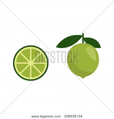 Green Lime Icon, Ingredient For Mojito, Vector Illustration Flat Style