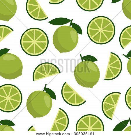 Green Lime Seamless Pattern, Fresh Citrus Fruit For Summer Cocktail