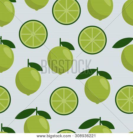 Seamless Pattern Lime, Fresh Citrus Fruit For Summer Cocktail