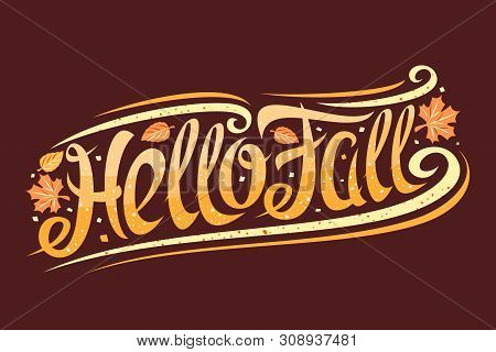 Vector Greeting Card For Fall Season, Curly Calligraphic Font With Autumn Leaves And Decorative Elem