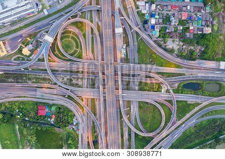 Top View Of Highway Road Junctions.