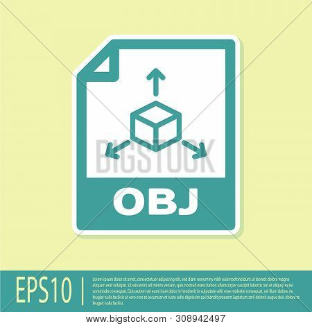 Green Obj File Document Icon. Download Obj Button Icon Isolated On Yellow Background. Obj File Symbo