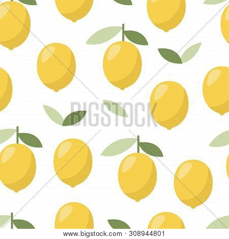 Lemon Pattern, Design For Any Purposes. Vector Natural Drink. Exotic Summer Fruit. White Background.