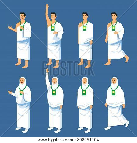 Set Couples Character Of Hajj Pilgrimage. Suitable For Infographic.