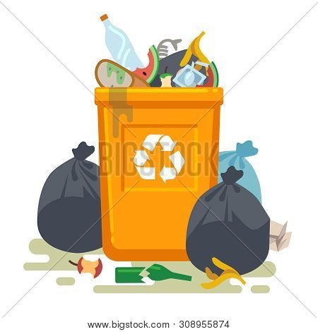 Overflowing Trash Can. Food Garbage In Waste Bin With Nasty Smell. Rubbish Dump And Trash Recycling,