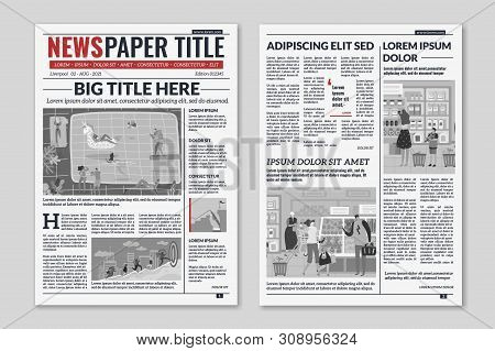 Newspaper Layout. News Column Articles Newsprint Magazine Design. Brochure Newspaper Sheets. Editori