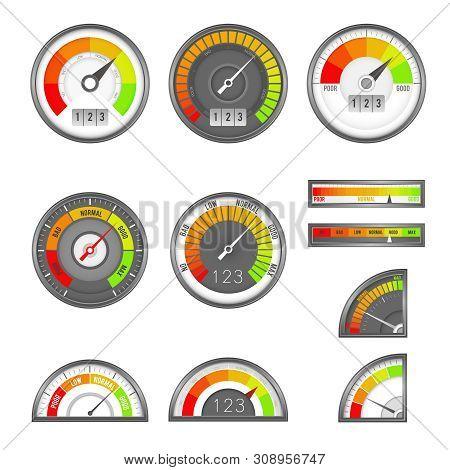 Score Indicator. Speedometer Indicators Level Score, Scale Panel Accelerate Rating, Rate Credit Gaug
