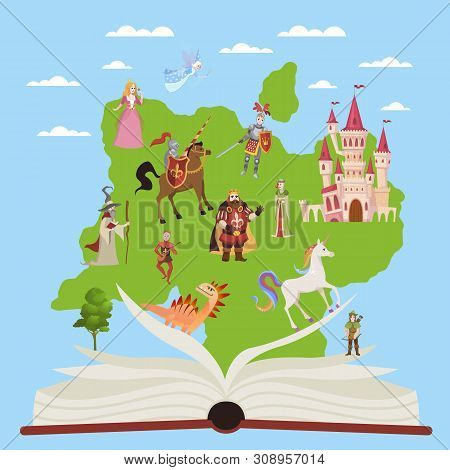 Story Book. Child Educational Books With Stories Fairytale And Fantasy Characters For Imagination Re