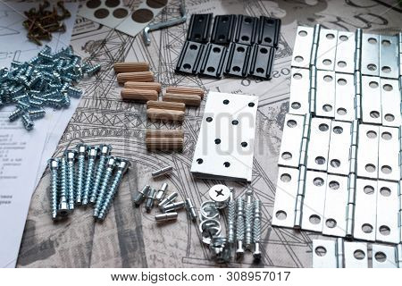 Elements And Tools For Furniture Assembly. Furniture Components