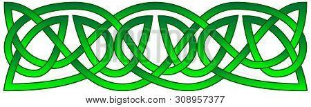 Celtic Knots Shamrock Ornament. Traditional Medieval Frame Pattern Illustration. Scandinavian Or Cel