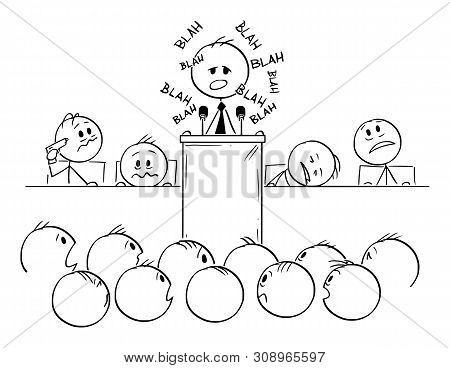 Vector Cartoon Stick Figure Drawing Conceptual Illustration Of Man Or Politician Speaking Or Having