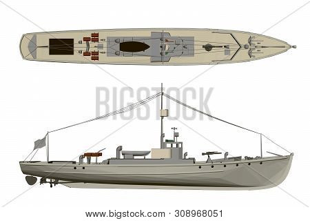 Model Warship. Side View And Top. 3d.